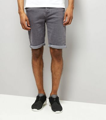 Pale Grey Slim Leg Stretch Denim Shorts