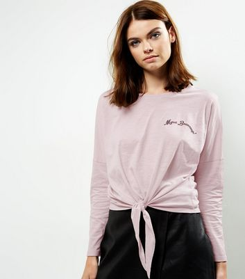 Pink Embroidered Slogan Tie Front Long Sleeve T-Shirt