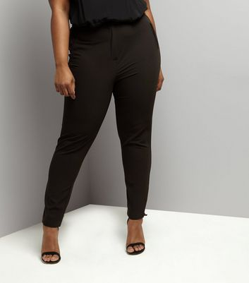 Curves Black Slim Leg Suit Trousers