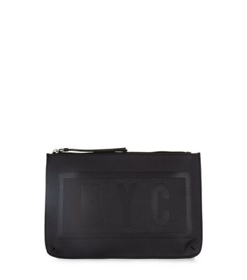 Black NYC Embossed Clutch