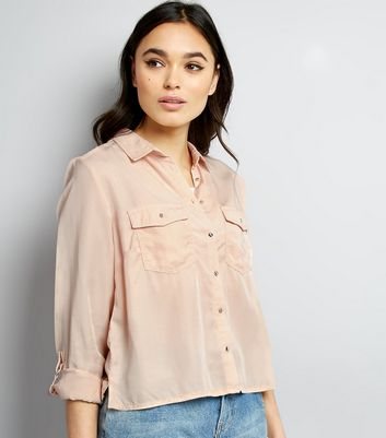 Shell Pink Roll Sleeve Cropped Shirt