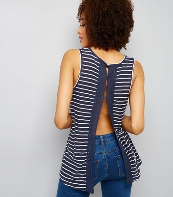 Blue Stripe Crochet Lace Trim Split Back Vest
