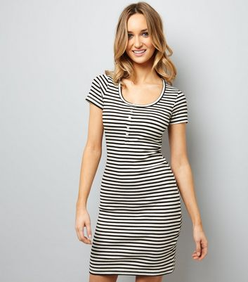 Black Button Front Stripe Dress