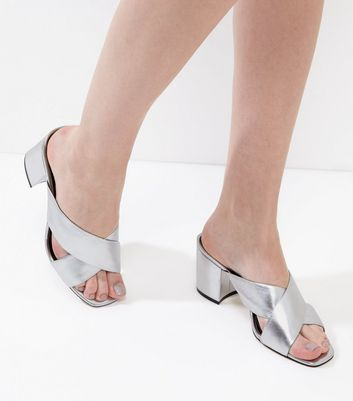 Silver Leather Cross Strap Heeled Mules