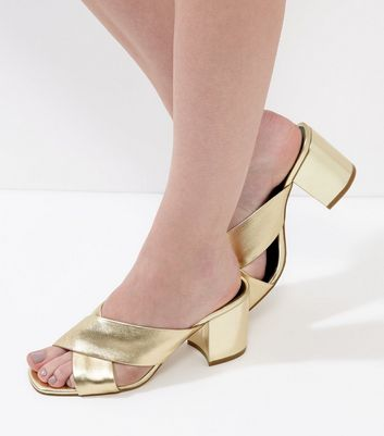 Gold Leather Cross Strap Heeled Mules