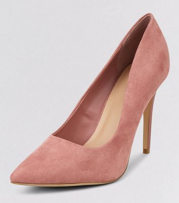 Pink Suedette Matte Heel Pointed Court Shoes