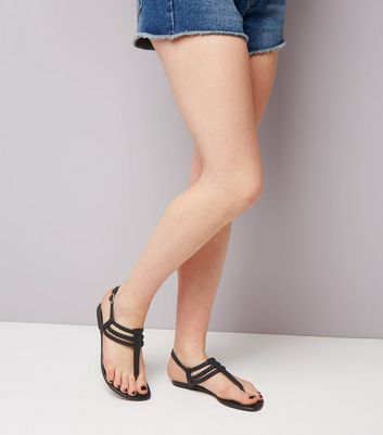Teens Black Leather-Look Plaited Straps Sandals