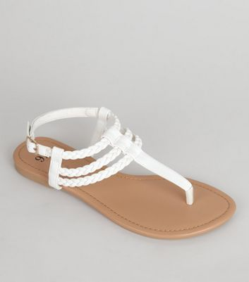 Teens White Plaited Strap Sandals