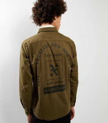 Dark Brown Long Sleeve Slogan Back Print Shirt