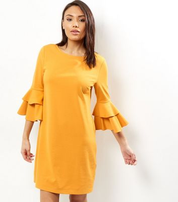 Yellow Layered Bell Sleeve Tunic Dress