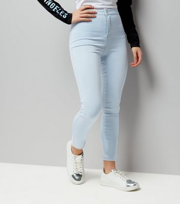 Ados - Jeans skinny bleu clair taille haute