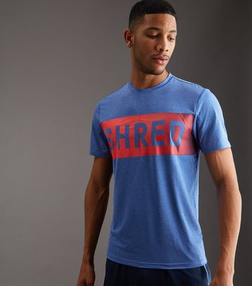 T-shirt de sport bleu à slogan Shred