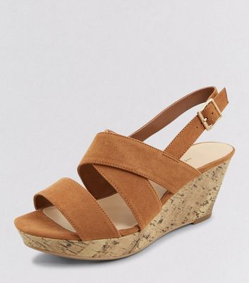 Teens Tan Suedette Contrast Wedges