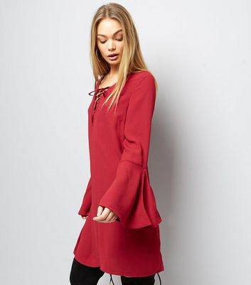 Red Lattice Front Bell Sleeve Tunic