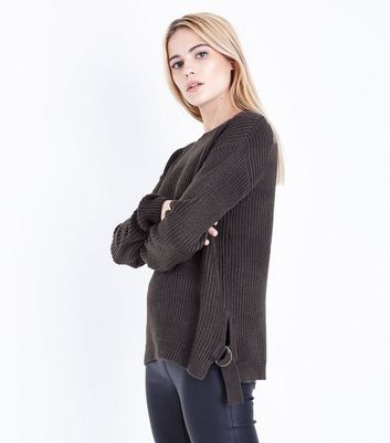 Dark Grey D Ring Tie Side Jumper