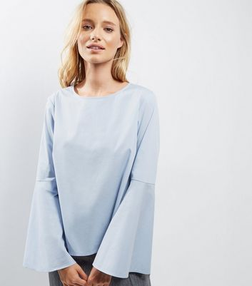 Light Blue Flare Sleeve Top