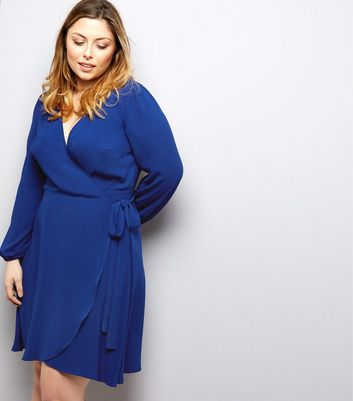 Curves Blue Wrap Front Dress
