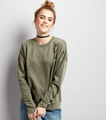 Olive Green Ripped Long Sleeve Sweater