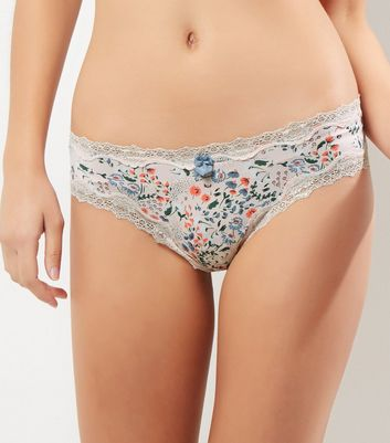 Pink Floral Lace Trim Brazilian Briefs