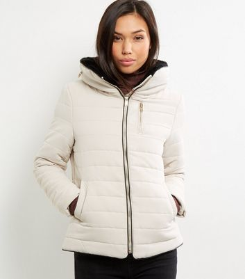 Cream Fitted Padded Puffer Jacket