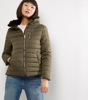 Khaki Fitted Padded Puffer Jacket