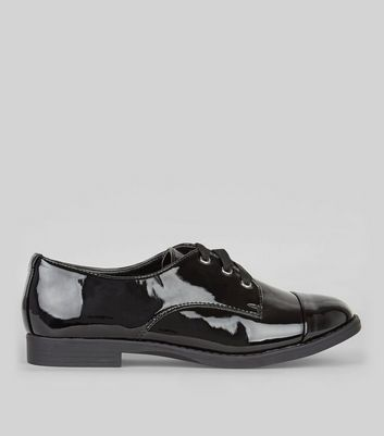 Black Wide Fit Patent Lace Up Brogues