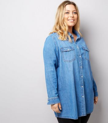 Curves Blue Denim Oversized Shirt