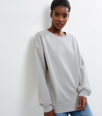 Pale Grey Balloon Sleeve Sweater