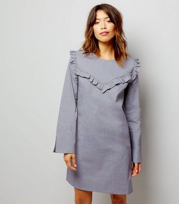 Dark Grey Frill Trim Long Sleeve Cotton Tunic Dress