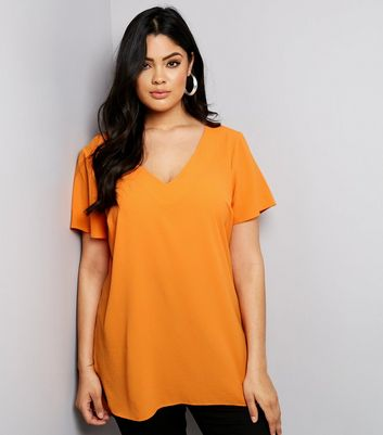 Curves Orange Lattice Back Tunic