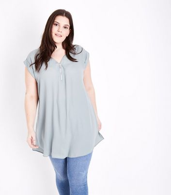 Curves Mint Green Zip Neck Tunic Top