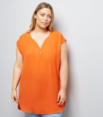 Curves Bright Orange Zip Front Tunic