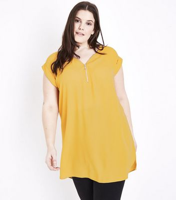 Curves Yellow Zip Neck Tunic Top