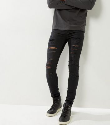 Black Extreme Ripped Super Skinny Jeans
