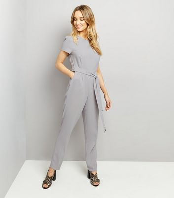 Dark Grey Tie Waist Jumpsuit