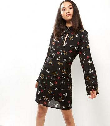 Black Ditsy Floral Tie Neck Bell Sleeve Tunic Dress