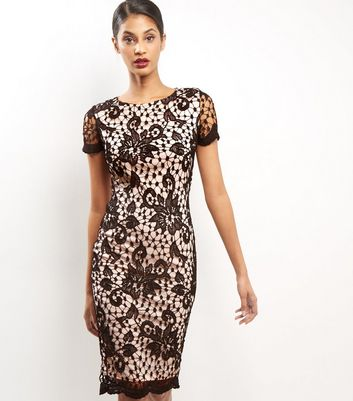 AX Paris Black Floral Lace Bodycon Midi Dress