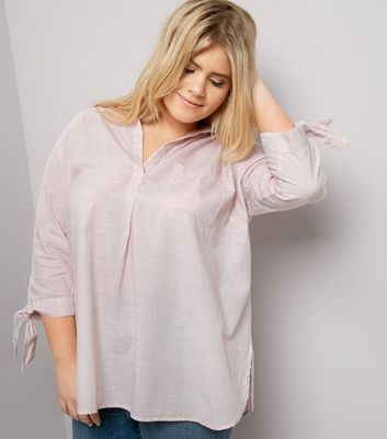 Curves Shell Pink Tie Sleeve Shirt