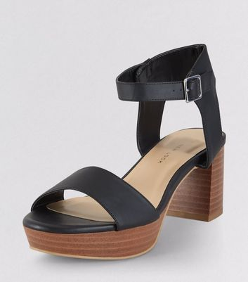 Teens Black Contrast Sole Heels