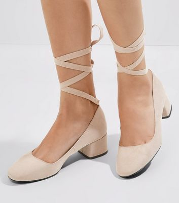 Mink Suedette Tie Up Mini Block Heels