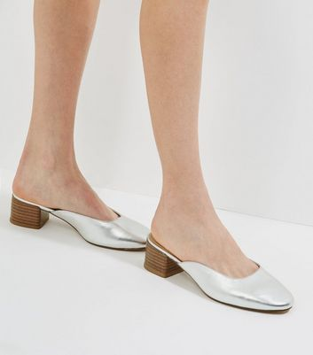 Silver Metallic Mini Block Heeled Mules