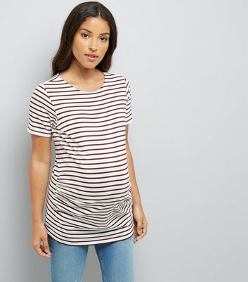 Maternity Burgundy Stripe T-Shirt