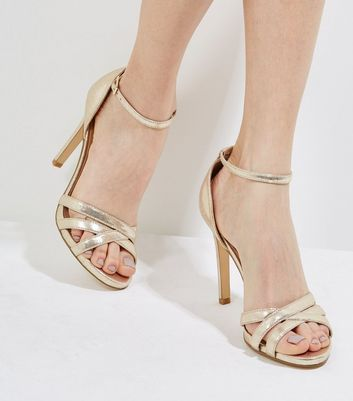 Gold Cross Front Ankle Strap Heels