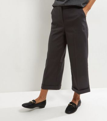 Black Herringbone Turn Up Cropped Trousers