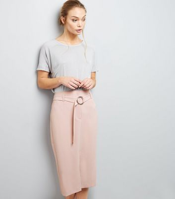Mid Pink Belted Midi Pencil Skirt