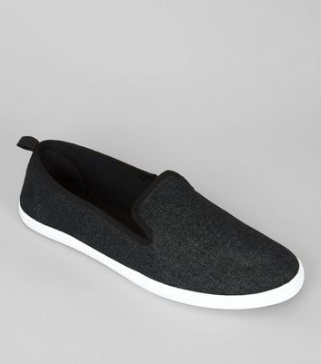 Tennis Slip On noires en toile