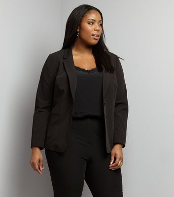 Curves Black Button Front Blazer