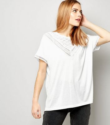 JDY White Lace Trim Short Sleeve Top