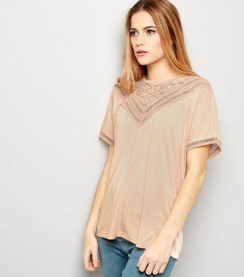 JDY Pink Lace Trim Short Sleeve Top