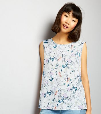 JDY White Floral Print Sleeveless Top